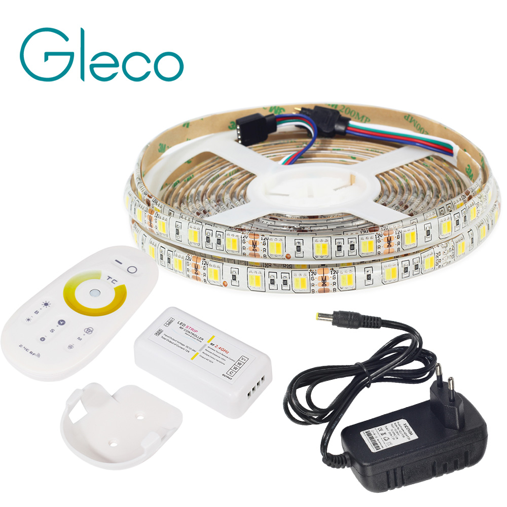 LED STRIP 5050 SET 2 IN 1 White+Warm white LED Strip Light 5050 CWW with 2.4G RF CCT Controller, 12V Power Supply EU Plug 300 5050 smd led 6500k white light strip led dimmer 12v 5a power converter us plug adapter set