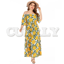 CUERLY Off shoulder floral print plus size holiday dress women Summer boho lace up long vestidos Casual elegant beach dresses
