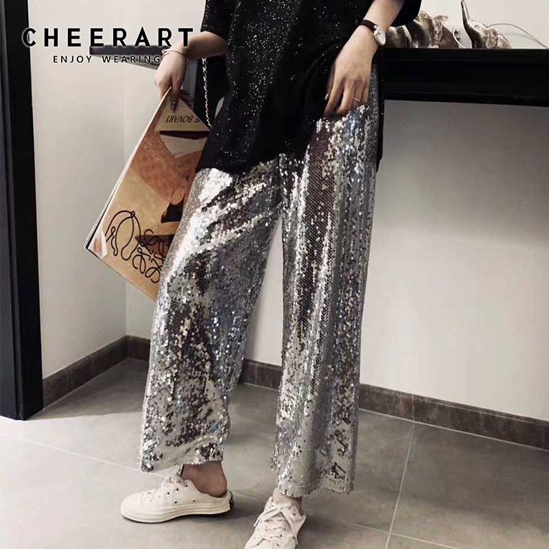 Cheerart Sequin Pants Women Silver Wide Leg Pants Ladies Trousers Elastic Waist Ankle Fashion Disco Loose Pants Summer 2019