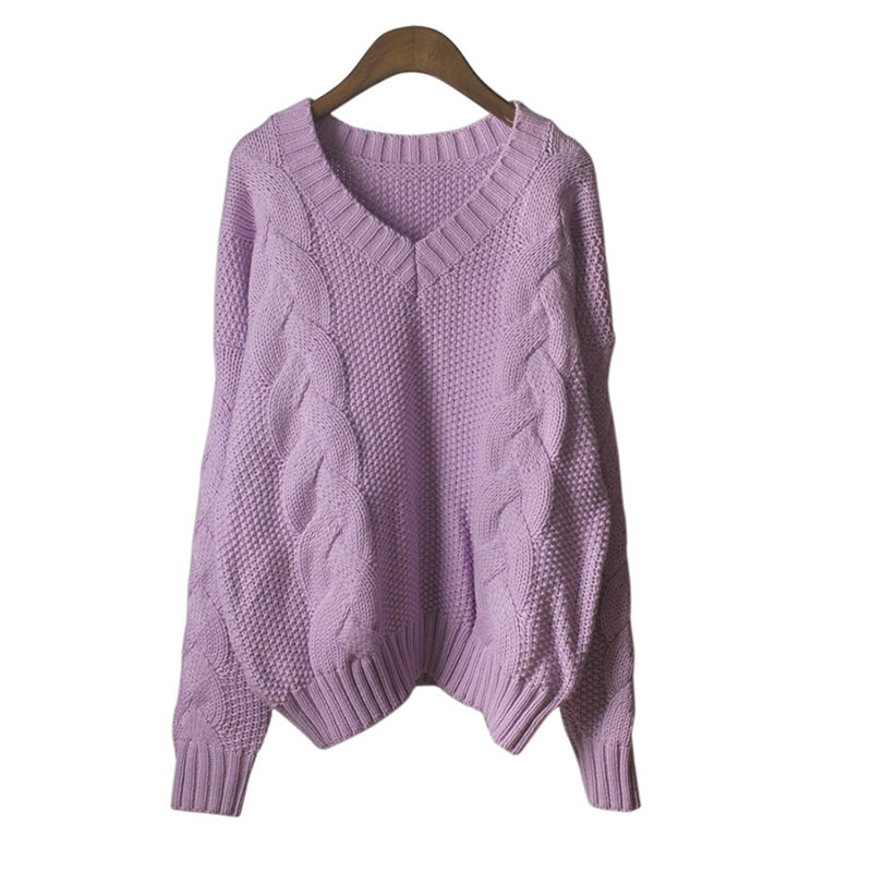 ... femme Knit warm poncho 2017 pull femme hiver purple jumper pullover