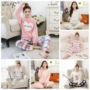 Image 3 - Striped & Flamingo Pajamas Set for Women 2019 New O neck Long Sleeve Flannel Sleepwear Suit Winter Warm Two Piece Set Homewear