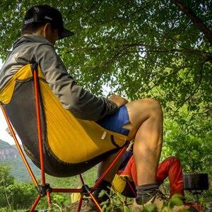 Image 5 - Sillas ultraligeras para juegos de jardín asiento amarillo portátil, silla de pesca ligera, taburete de Camping, muebles plegables para exteriores 7075