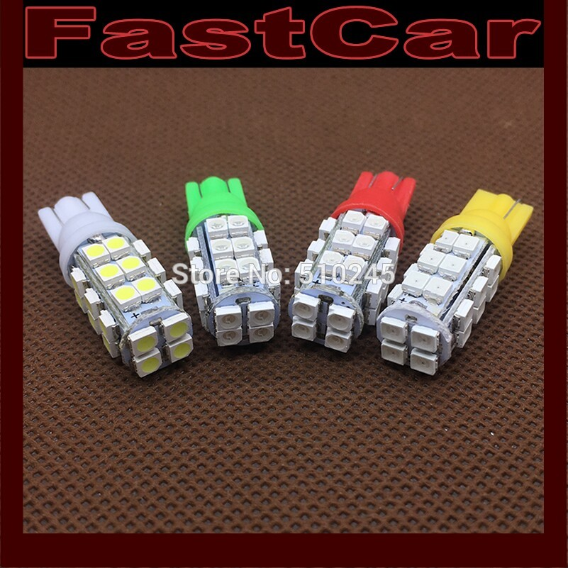 100X Wholesale Auto Car led W5W 194 T10 28 LED SMD 3528 28SMD white blue red yellow green Free shipping !!!