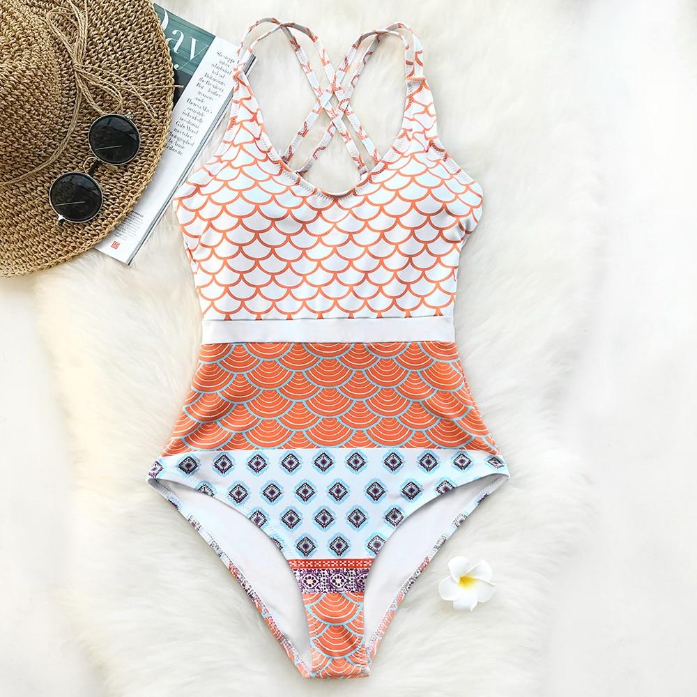 CUPSHE Beautiful World Mermaid Waves Print One-piece Swimsuit U Neck High Waisted Bikini Set Padded Bathing Suit Swimwear