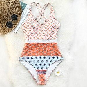 Image 1 - CUPSHE beau monde sirène vagues imprimer maillot de bain une pièce col en U taille haute Bikini ensemble rembourré maillot de bain maillots de bain