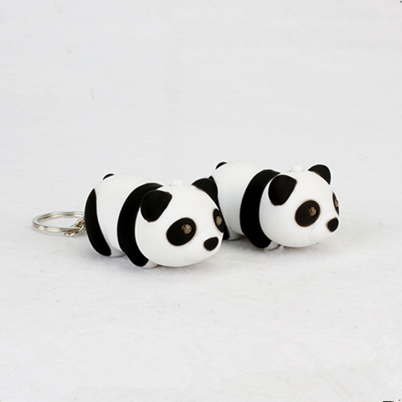 Cute Panda Key Chain with LED Light Sound Lovely Key Ring Trinket Pendant Ornament Decoration Children Gifts Mascot bag keychain