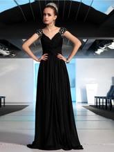 2015 A-line V-ausschnitt Long Black Chiffon Abendkleid Kleid Mit Kristallen Bodenlangen Flügelärmeln Abend-formale Kleid V-zurück F2012