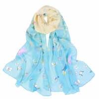 Moda de playa de viaje Mujer Flor estampado bufanda de gasa bufandas cuello chal H84