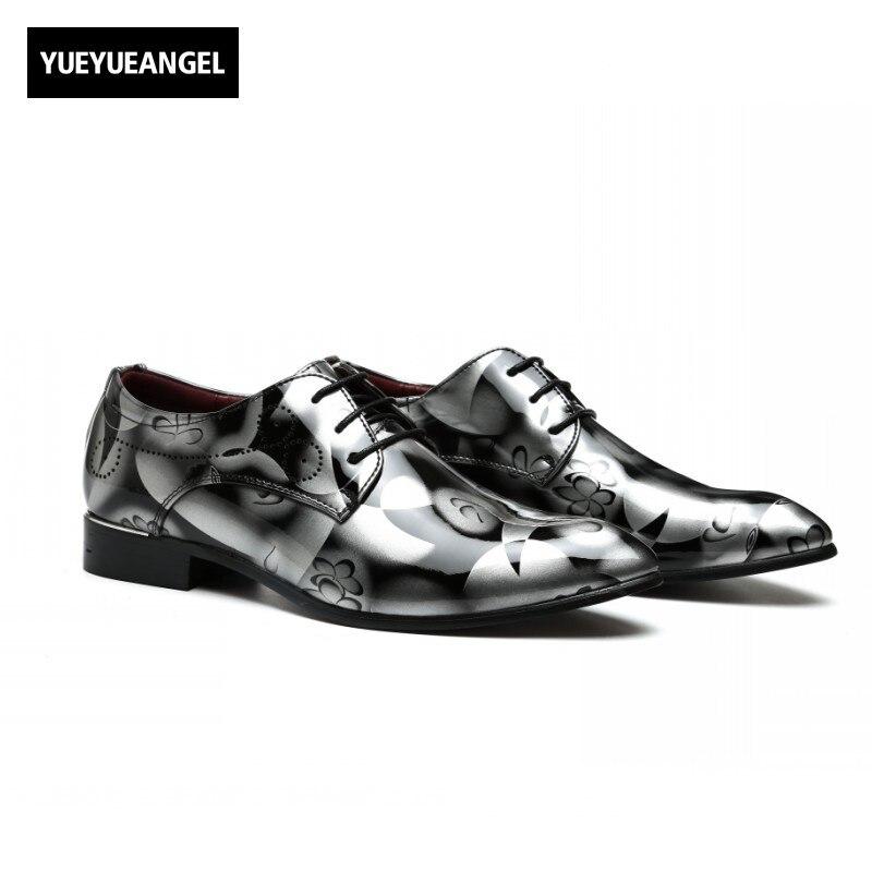 2017 Hot Sale Fashion Men Pointed Toe Male Lace Up Autumn Vintage Formal Shoes Plus Size Patent Leather Korean Style Multi Color