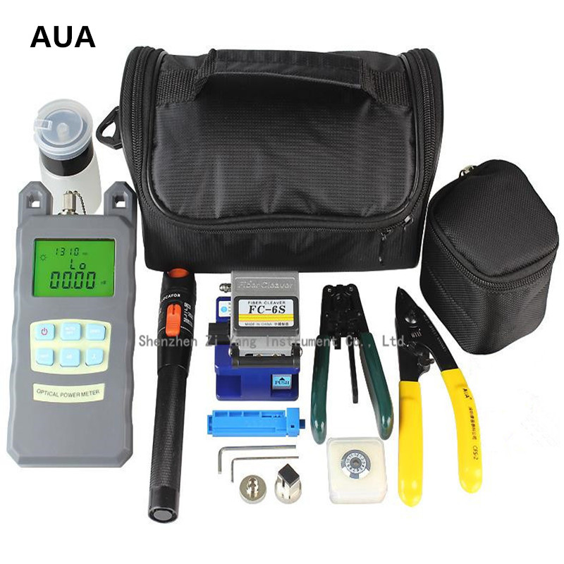 Fiber Optic FTTH set of tools with FC 6S Fiber Cleaver Optical Power Meter 10Mw Visual