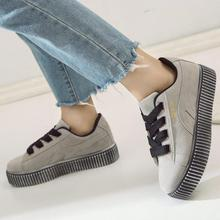 New 2018 Spring Autumn Breathable Comfortable Shoes Women Flats Soft Leather Fashion Ladies Casual Creepers Shoe Unisex Sneakers