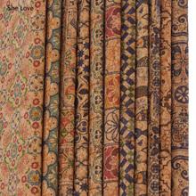 Chzimade A4 miękki korek Vintage nadruk w kwiaty syntetyczna skóra tkanina na ubrania torebki Diy materiały do szycia tanie tanio CN (pochodzenie) Odporne na ścieranie PRINTED Włókniny Other Tekstylia domowe Odzieży
