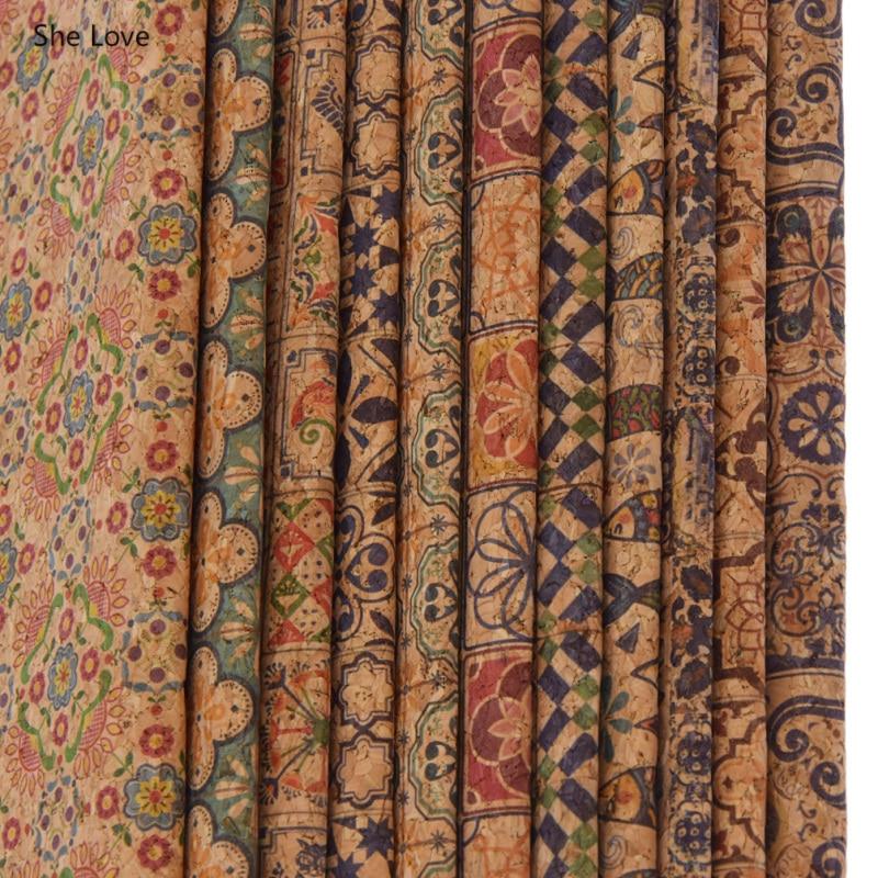 She Love A4 мягкая пробковая винтажная ткань из синтетической кожи с цветочным принтом для одежды ручные сумки Diy Швейные материалы