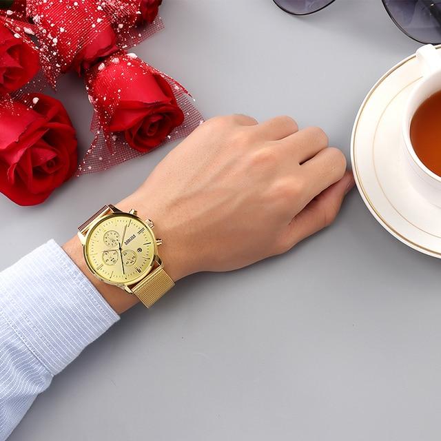 BAOGELA Chronograph Black Mens Quartz Stainless Steel Mesh Gold Watch
