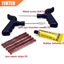 TEKTER 8 Pcs Bike Auto Tubeless Tire Tyre Puncture Plug Repair Tool Kit Diagnostic-tool Car Accessories Metal Plastic