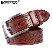 [Veroseice] Drop Shipping New Genuine Leather Men Belt Pin Buckle Male Artcrafts Strap Waistband Cowhide Jeans Belts for Men