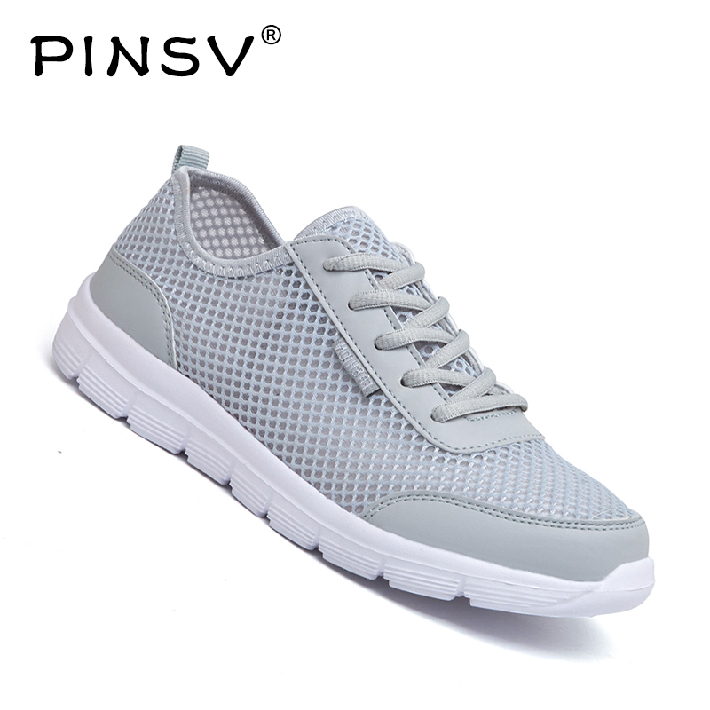 Black Unisex Casual Shoes Men Sneakers Super Light Trainers Mens Breathable Mesh Flat mocassim masculino PINSV