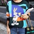 VOGUE SIS Вышивка Трикотажные Свитера Женщин Пуловер Зима Разбойник Кролик Лоскутное Геометрическая Хит Повседневная С Длинным Рукавом Леди Свитер