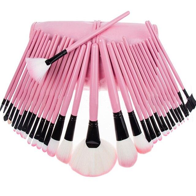 Vendas quentes da Mulher Profissional 32 Pcs Make Up Tools Eye rosto Sombras Batons Maquiagem Em Pó Brushes Set Kit com Bolsa saco