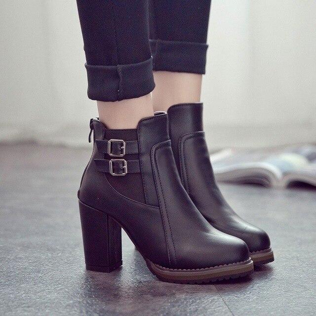 2019 New Women Boot Autumn Winter Short Boots  Women High Heel Shoes Ankle Boots Women Ankle Boots Black Women Shoes