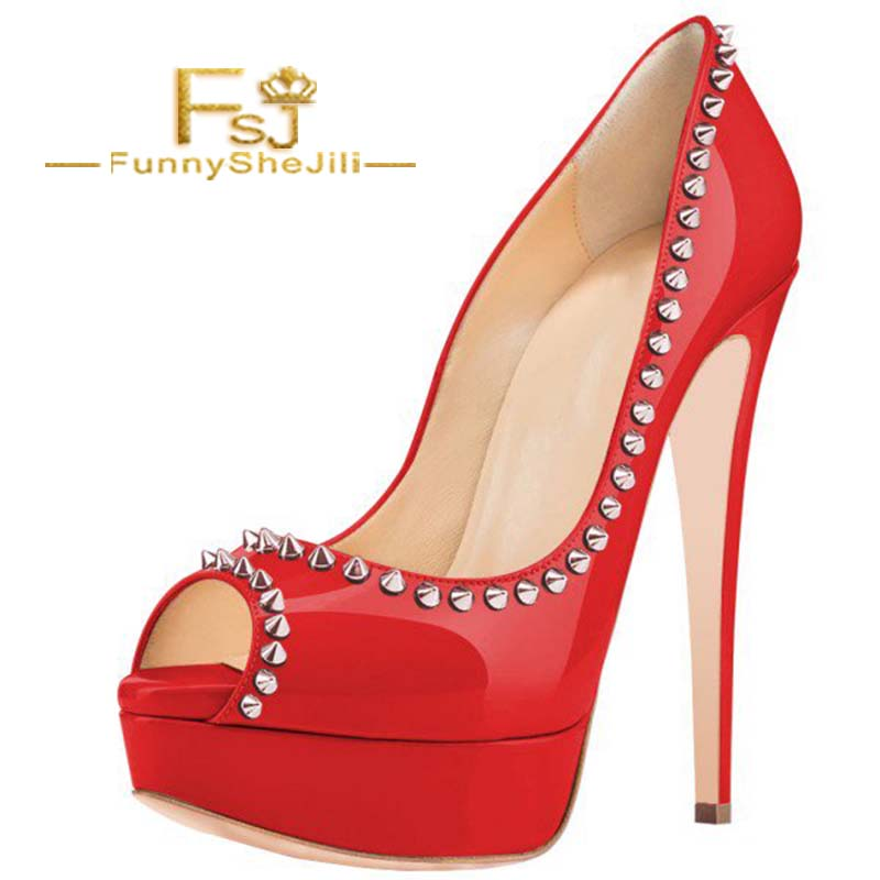 Women's Red Peep Toe Heels Platform Chunky Heels Pumps with Rivets Spring Summer Autumn Incomparable Generous Noble Fashion FSJ