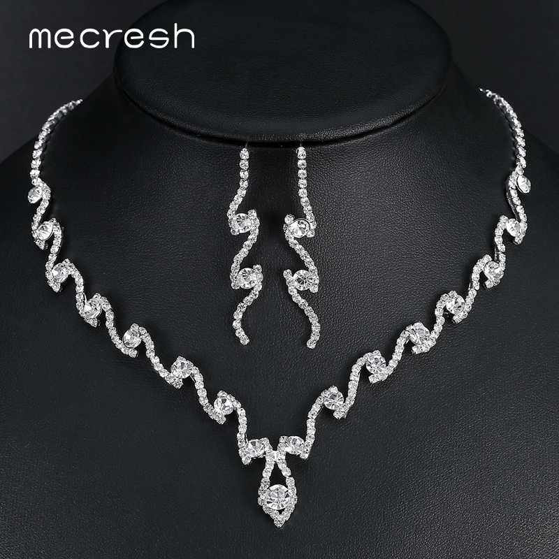 Mecresh Simple Geometric Wedding Jewelry Sets for Women Clear Rhinestone Crystal Bridal Necklace Sets Accessories Gift TL297