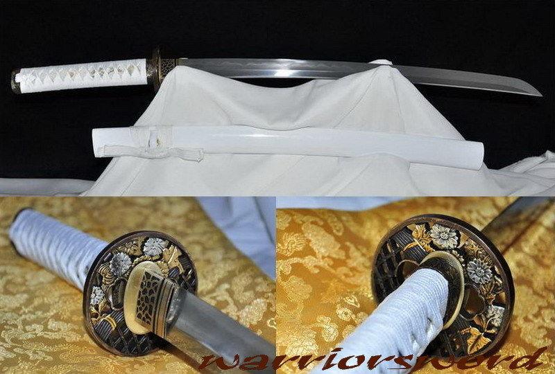 HighQuality Clay Tvrzená skládaná ocel Čepel Japonský meč Wakizashi # m809