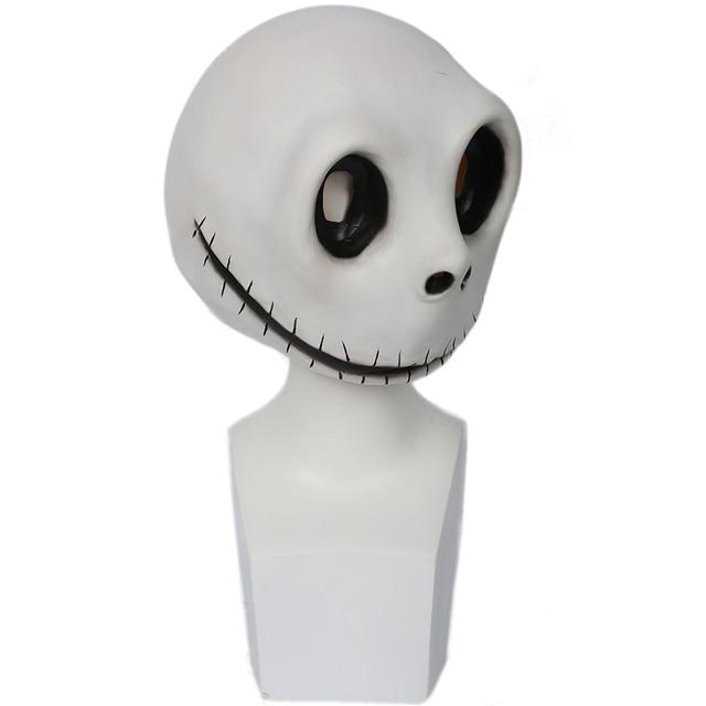 Coslive Jack Skellington Mask White Latex Mischievous Full Head Mask Jack Cosplay Props For Men Adult