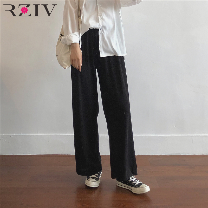 RZIV Summer women's   pants   casual solid color loose   wide     leg     pants