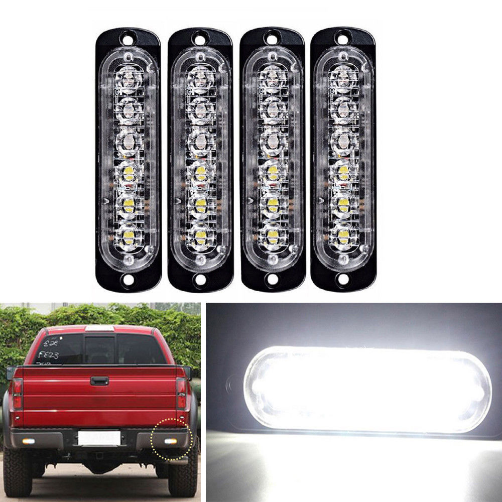 4pcs 6LED Flashlights Bulbs Bar Beacon LED Lamp Emergency Strobe Lights 113*28.2mm ...