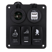 Universal Car styling 5PIN Car Panel Combination Type Switch DC12V/24V with Dual USB Car Charger Blue Light High Quality Black
