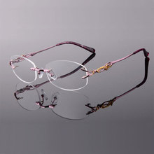 New 8036 Rimless Diamond Eyeglasses Frame for Women Eyewear Fashion
