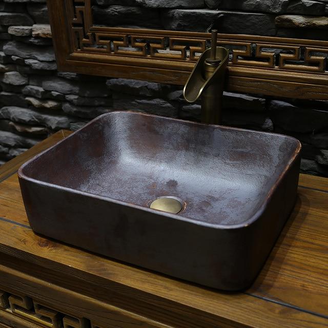 Rectangulaire Salle De Bain Lavabo Comptoir En Céramique Lavabo Vestiaire  Peint à La Main Navire évier