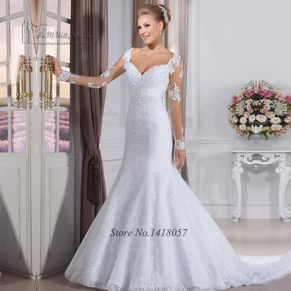 Inexpensive Wedding Gowns Online: Vestido De Noiva Sereia Long Sleeve Wedding Dresses Lace