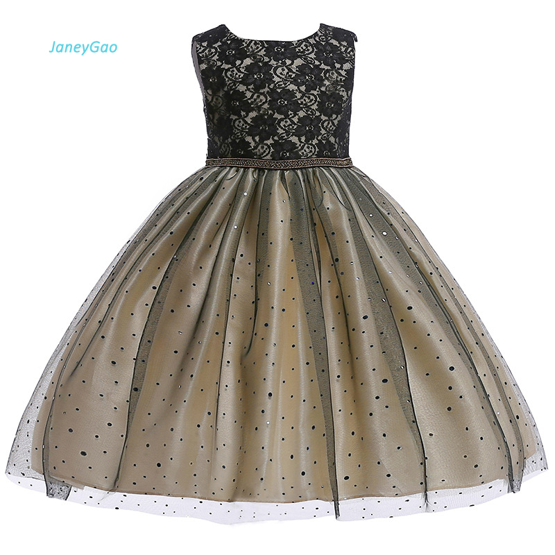 JaneyGao   Flower     Girl     Dress   For Wedding Party Black Kids Formal   Dress   Little   Girl   Prom Gown Pageant   Dress   2018 New Fashion Style