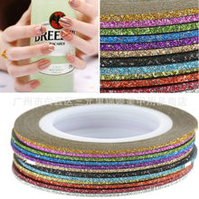 HOT VERKOOP 1mm 12 kleur Glitter Nail Stripin Lijn Tape Sticker Set Art Decoraties DIY Tips Voor Nagellak gel Rhinestones Decorat(China)