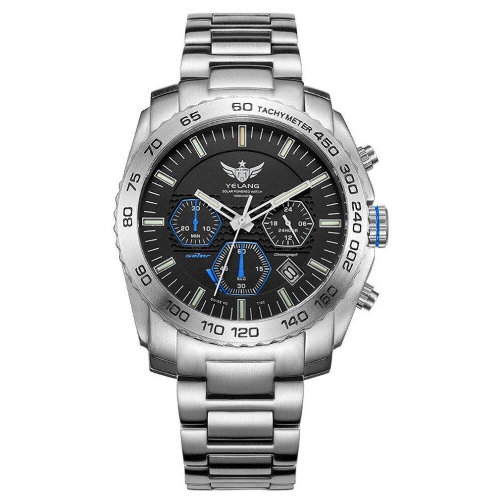 มาใหม่ YELANG V1210 Eco   Drive Movement T100 Tritium ส่องสว่างสาย Sapphire Mirror นาฬิกาข้อมือสำหรับผู้ชาย Business Watch-ใน นาฬิกาควอตซ์ จาก นาฬิกาข้อมือ บน   1