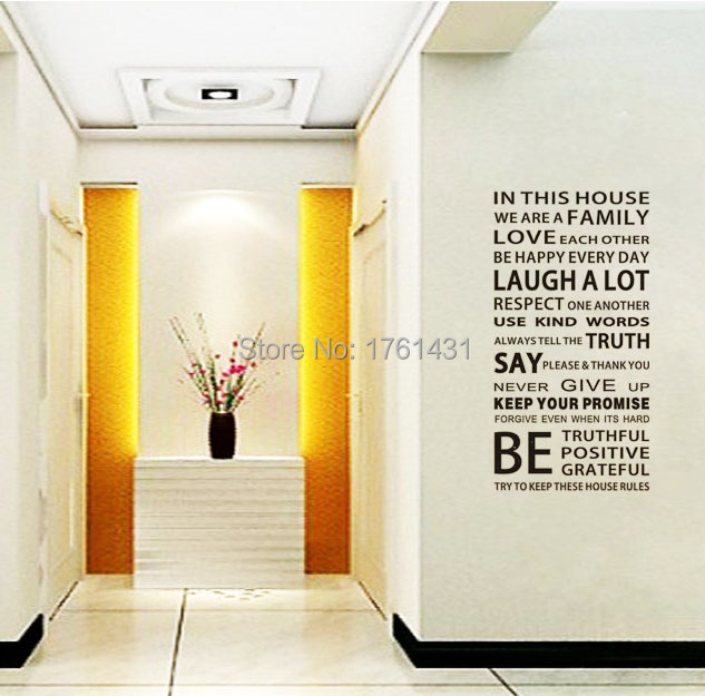 Family House Rules Moden Romantic wall art decals home decoration ...