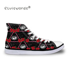 ELVISWORDS Vulcanize Shoes Eye Print High Top Canvas Sneakers Design Comfortable Male Casual Flat mens shoes high platform Shoe недорго, оригинальная цена
