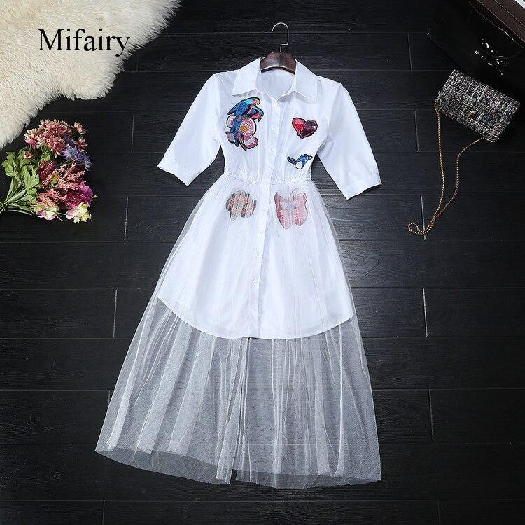 Mifairy 2017 blanc/noir perroquet broderie chemises robe et maille jupes marque même Style 2 pièces ensembles C061720