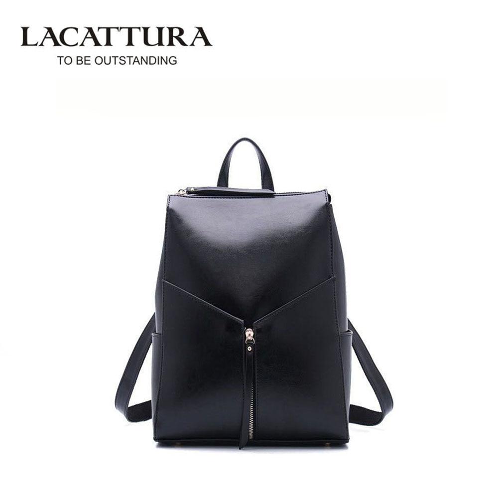 LACATTURA Fashion Women Backpack High Quality Leather Backpacks for Teenage Girls School Shoulder Bag Bagpack mochila