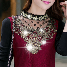 2014 New Spring And Summer Fashion  Lace  Sleeve Shirt Chiffon Lace shirt Pluse size M-XXL 685
