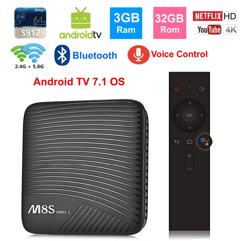 M8S PRO L Smart TV BOX Android TV OS google commande vocale S912 Octa core 3 GB 32 GB bluetooth 2.4G/5G double WIFI 4 K TV décodeur
