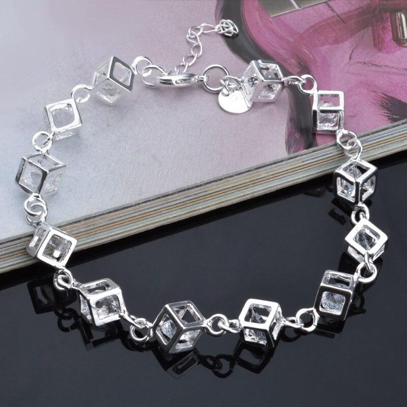 Coréenne Argent Charme DIY Bracelets Pour Les Femmes Avec Violet Or Cristal Cube Bracelets & Bangles Femme Pulseira Bijoux Bijoux