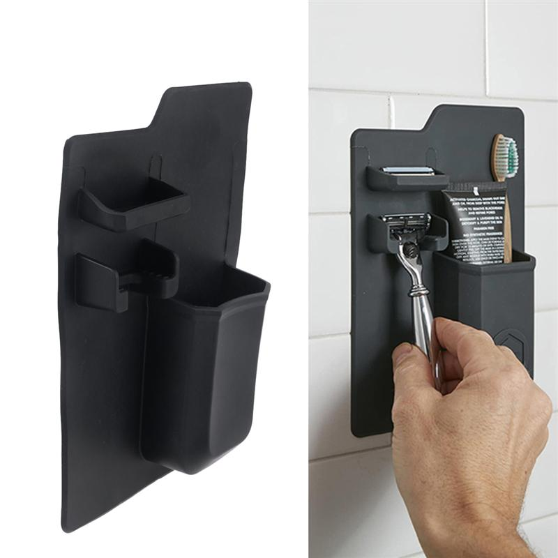 Image 5 - Punch Free Toothbrush Holder Suction Wall Mounted Gargle Cup Organizer Toothbrush Stand Rack Dispenser For Home Bathroom-in Toothbrush & Toothpaste Holders from Home & Garden