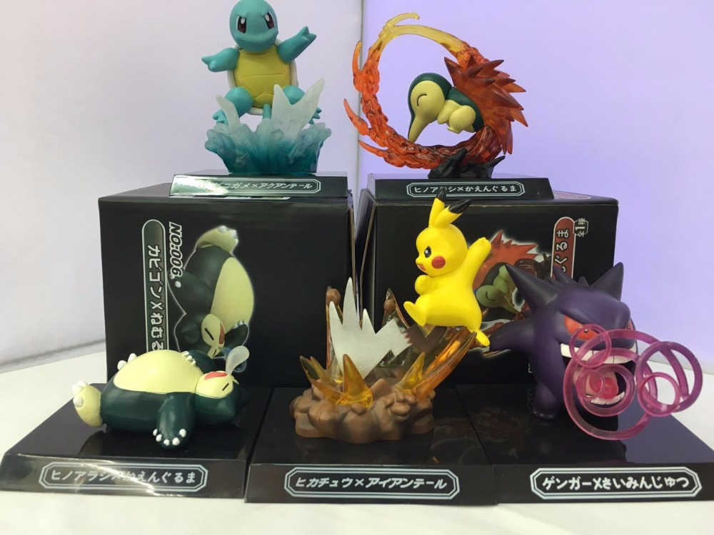 Free Shipping Cute Monster Anime GK Pikachu Squirtle Gengar Cyndaquil Snorlax Boxed PVC Action Figure Collection Model Doll Toy cartoon pikachu waza museum ver cute gk shock 10cm pikachu pvc action figures toys go pikachu model doll kids birthday gift