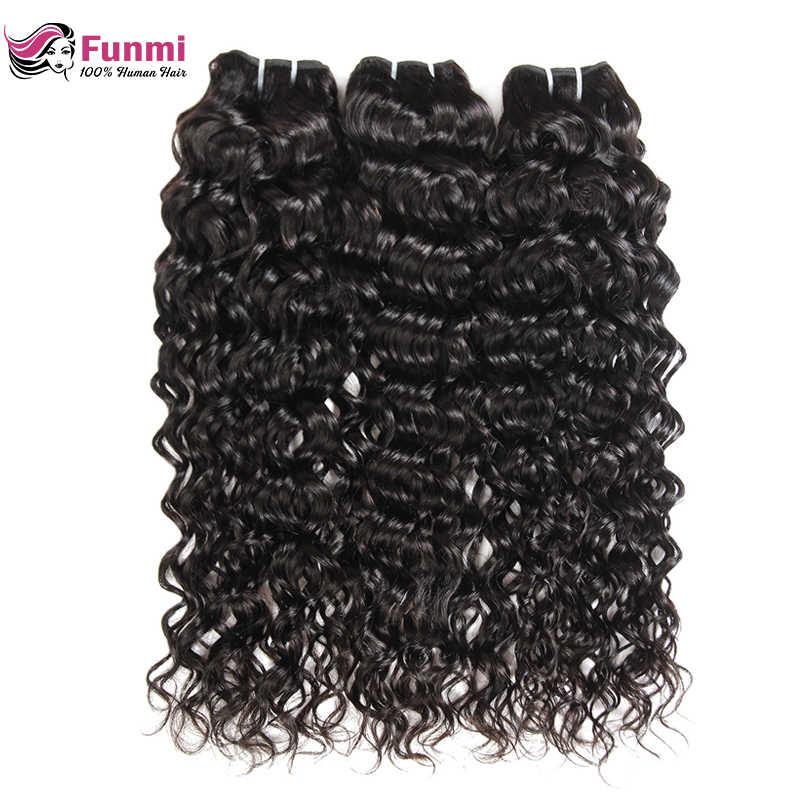 Фунми волосы волнистые пучки волос 1/3/4 пучки волос Необработанные индийские пучки волос 8-28 дюймовый двойной уток натуральные неокрашенные волосы пучки волос