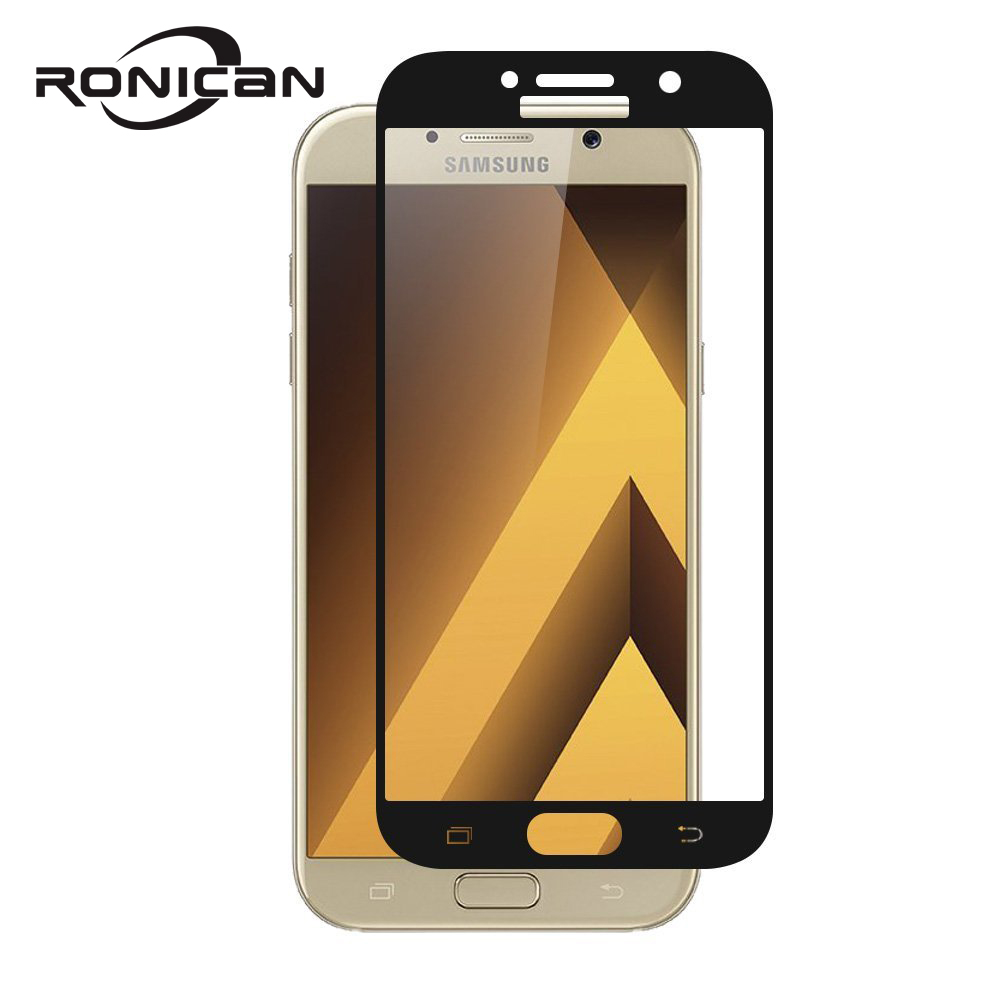 For <font><b>Samsung</b></font> Galaxy A3 A5 A7 2017 9H Hardness 3D Full Cover Bubble-Free Gold Tempered <font><b>Glass</b></font> Screen Protector for A320 <font><b>A520</b></font> A720 image