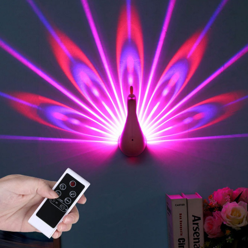 Creative Led Peacock Night Light Wall Lamp For Bedroom Bedside Background Channel Staircase Decor Romantic Projection Home
