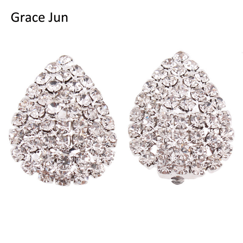 Grace Jun Bridal Rhinestone Crystal Big Waterdrop  Clip Earrings Without Piercing for Women Fashion Wedding Jewelry High Quality